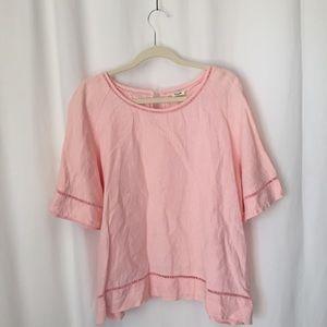 Symple NYC Sz L Solid Pink Lagenlook linen Breatha